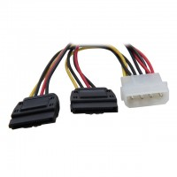 SATA 15-pin Male to 2x Molex 4-pin Female