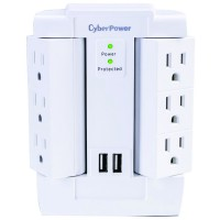 Power Bar Surge Protector CyberPower 6-Outlet Swivel + 2xUSB 2.4A