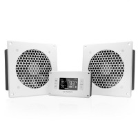 AC Infinity AIRPLATE T8 White Home Theater and AV Quiet Cabinet Cooling Dual-Fan System 6 Inch