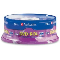DVD+R DL Verbatim 2.4X 8.5GB 20pcs Media
