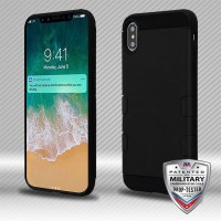 MYBAT iPhone XS Max Rubberized Black/Black TUFF Trooper Hybrid Protector Cover [Military-Grade Certified](with Package) IPXSMAXHPCTUFFTROSO403WP