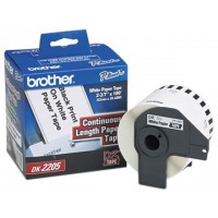 Brother DK2205 Continuous Paper Label Tape, 2.4'' x 100 ft. Roll, White